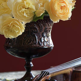 Fragrant Melodies   Yellow Roses and Vintage Violin Still Life by Nancy Jacobson