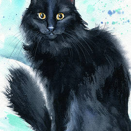 Fred Fluffy Black Cat Painting  by Dora Hathazi Mendes