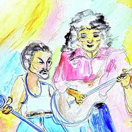 Freddy Mercury and Brian May, Live Aid 1985 - Watercolor by Debora Lewis
