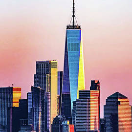 Freedom Tower in Sunset Colors by Regina Geoghan