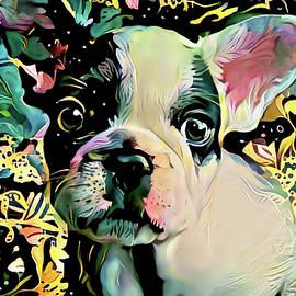 French Bulldog Puppy Abstract Art by Peggy Collins