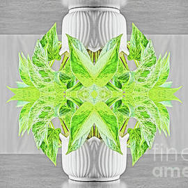 Fresh green plant surreal shaped symmetrical kaleidoscope by Gregory DUBUS