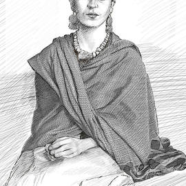 Frida Kahlo in pen and Ink by Dominique Amendola