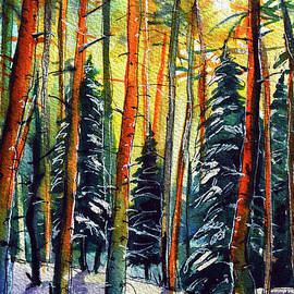 FROSTED FOREST watercolor painting Mona Edulesco by Mona Edulesco