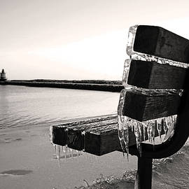 Frozen Bench Overlooking the Jetty at Spring Point Ledge Lighthouse by Lisa Cuipa