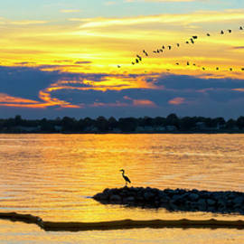 Ft Smallwood Sunset Silhouette Pano by Brian Wallace