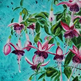Fuchsia diptych  left half by Jenny Scholten van Aschat