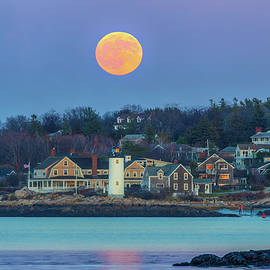 Full Beaver Moon Across Annisquam Harbor Lighthouse by Juergen Roth