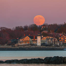 Full Moon Behind Annisquam Harbor Lighthouse by Juergen Roth