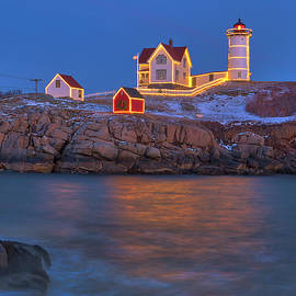 Full Moon over Nubble Lighthouse by Juergen Roth