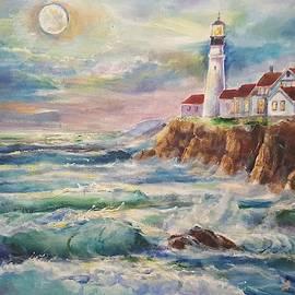 Full Moon over Portland Head Lighthouse by Alla Savinkov