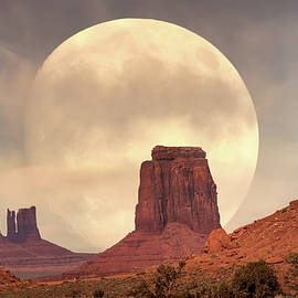 Full Moon rising in Monument Valley by Rod Gimenez