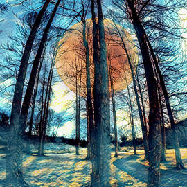 Full Moon Rising Through the Trees in Blue by Debra and Dave Vanderlaan