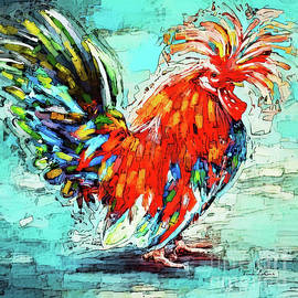 Funky Polish Rooster by Tina LeCour