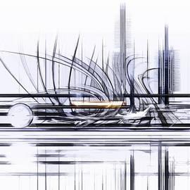 Futuristic architecture in graphic composition