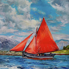 Galway Hooker At Full Sail by Conor McGuire