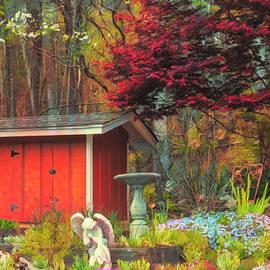 Garden Angel Painting by Debra and Dave Vanderlaan