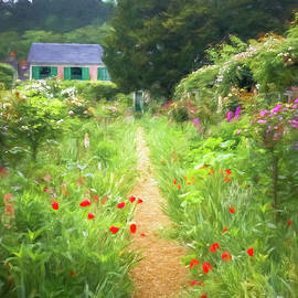 Garden Path In Giverny, Painterly by Liesl Walsh