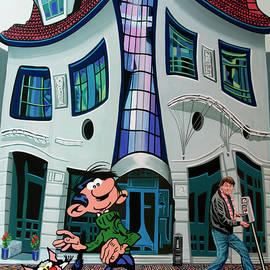 Gaston and Franquin Painting by Paul Meijering