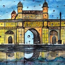 Gateway of India rainy watercolor landscape painting  by Manjiri Kanvinde