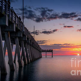 Gathering at Sunset, Venice Fishing Pier, Florida by Liesl Walsh