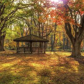 Gazebo at Historic Allaire Village in autumn by Geraldine Scull