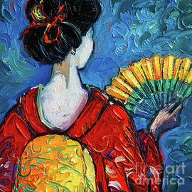 GEISHA WITH YELLOW FAN commissioned palette knife oil painting Mona Edulesco by Mona Edulesco
