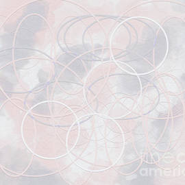 Geometric abstract in pink and grey