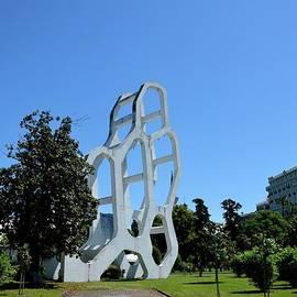 Geometric white concrete art sculpture in gardens Batumi Georgia by Imran Ahmed