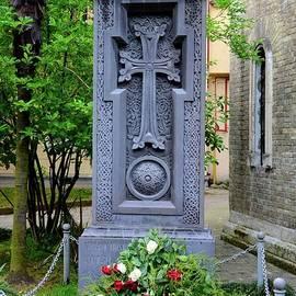 Georgian Orthodox church monument with crucifix cross to mark dead Batumi Georgia by Imran Ahmed