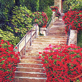 Geranium Filled Staircase by David Lloyd Glover