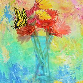 Gerbera Daisies In A Blue Vase by Diane Schuster