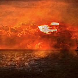 Ghost Ship Sunset by John Haldane