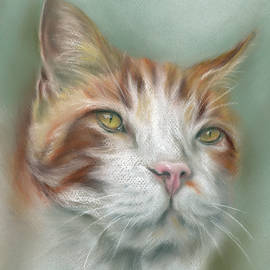Ginger and White Tabby Cat with Pink Nose by MM Anderson