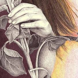 Girl And The Sunflower by Nives Palmic