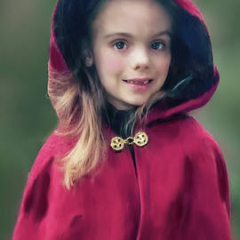 Girl in Red Wool Cape by Cordia Murphy