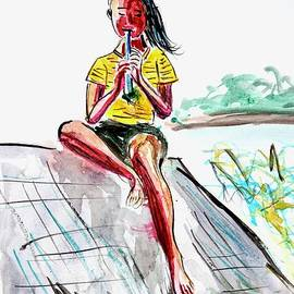 Girl on a Roof with Flute by Patty Donoghue