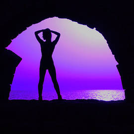 Girl Standing in Archway Purple by Alan and Marcia Socolik