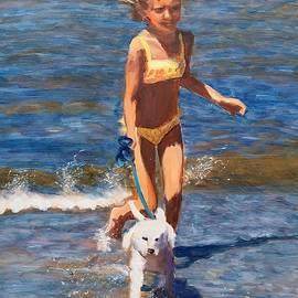 Girl with a doggy by Elena Sokolova