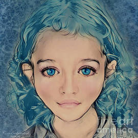 Girl with blue hair by Kira Bodensted