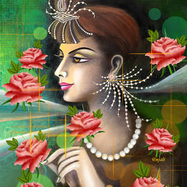 Girl with roses by Anjali Swami