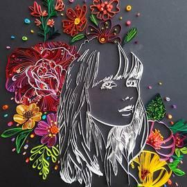 Girl's Portrait With Flowers by Priyanka Sagar