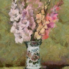 Gladioli in a Delft Vase by Dragica Micki Fortuna