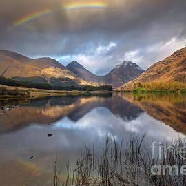 Glen Etive Lochan Nam Urr Rainbow Scotland by Barbara Jones