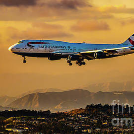 Glimpse of the Hollywood Sign during Landing by Phillip Espinasse