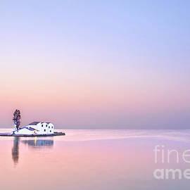 Singled out at sea, Glorious dawn at sea Greece, Corfu calm and tranquility before sunrise  by Tatiana Bogracheva