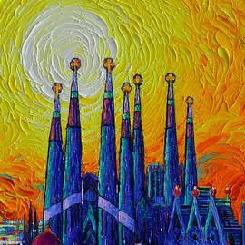 GLORIOUS SUNSET OVER SAGRADA FAMILIA IN BARCELONA palette knife oil painting by Ana Maria Edulescu by Ana Maria Edulescu