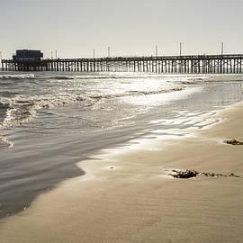 Glossy Gold Beach Vibe - Sunshiny Newport Beach Pier in Orange County California by Georgia Mizuleva