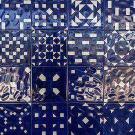 Glossy Modern Azulejos - Shimmering Geometric Patterns in Blue and White by Georgia Mizuleva