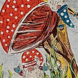 Gnomes Hanging Out and Hanging On  by Eloise Schneider Mote